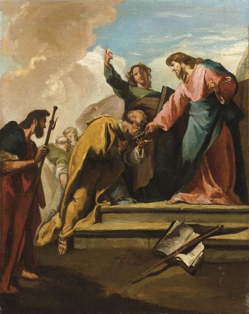Giovanni Battista Pittoni VENICE 1687 - 1767 LE CHRIST ET SAINT PETER  OIL ON CANVAS  Oil on canvas  40.5 x 32.5 cm; 16 by 12 3/4 in