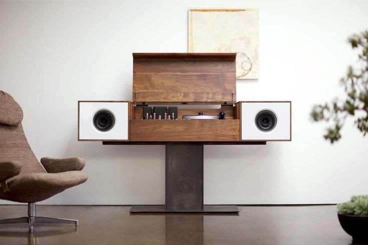 """Modern Record Console Jet Black Speaker Front For Sale on 1stdibs – The flagship of the Symbol audio line, the modern record console pays homage to """"all in one"""" console hifi's of the 1950s, an idea whose time, we believe,"""