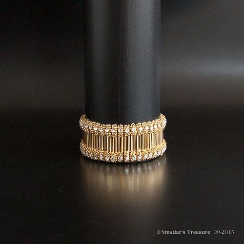Beading Tutorial. Bling It On Bracelet Pattern w/ Bugles, Rose Montees