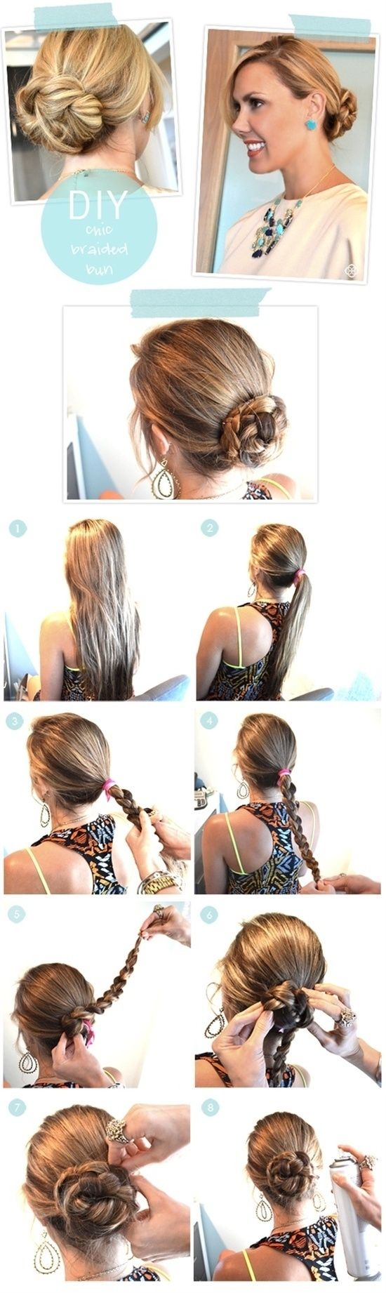 DIY Chic Braided Bun diy diy ideas easy diy diy beauty diy hair diy fashion beauty diy diy bun diy style diy hair style diy updo