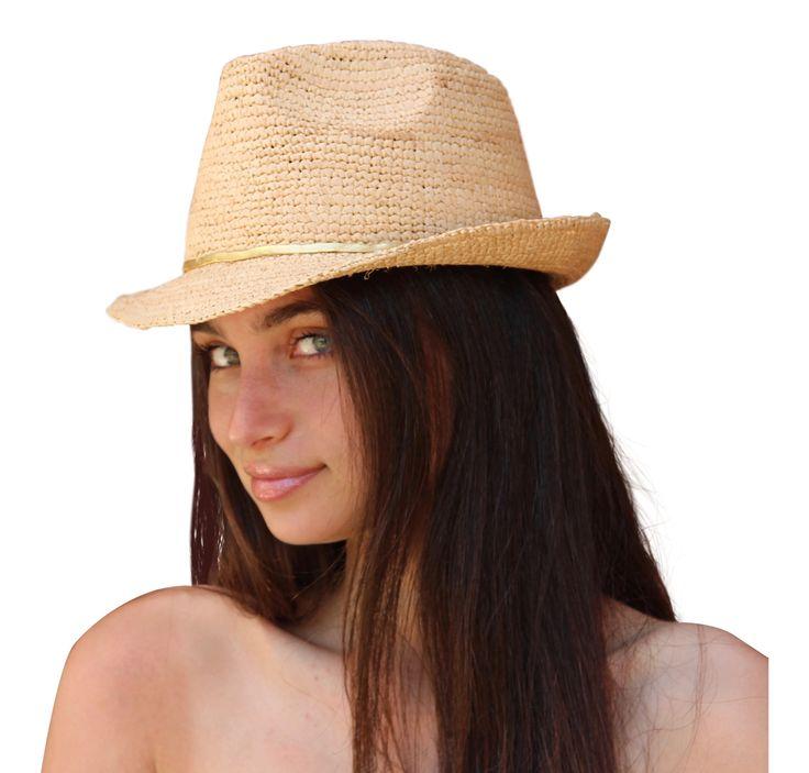 Palms & Sand Ladies Fedora Womens Sun Hat, Beach Hat (Natural)