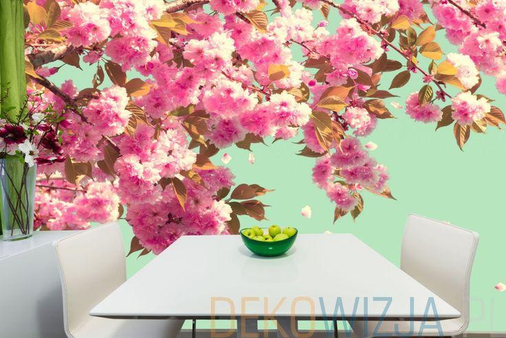 Fototapeta do jadalni z kwiatami drzewa owocowego