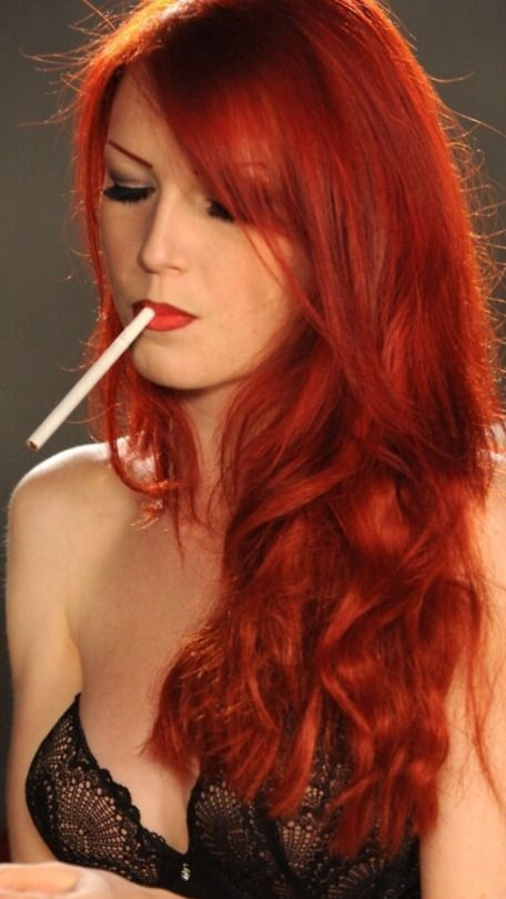 Girl hard smoking hot redheads