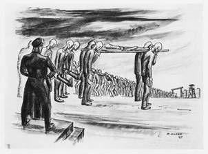 dessin David Olère retour travail prisonniers Auschwitz Birkenau