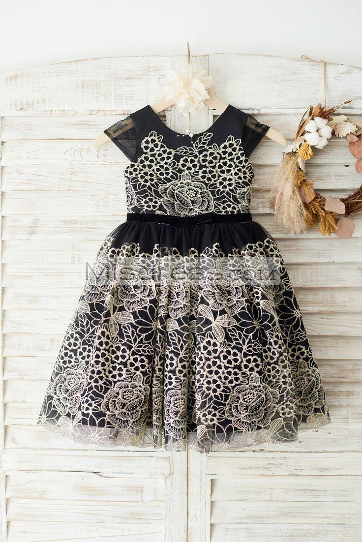 Cap Sleeves Gold Lace Black Tulle Wedding Party Flower Girl Dress  https://www.misdress.com/collections/flower-girl-dresses/products/cap-sleeves-gold-lace-black-tulle-wedding-party-flower-girl-dress?utm_content=buffer47013&utm_medium=social&utm_source=pinterest.com&utm_campaign=buffer  #laceflowergirldress #goldembroiderlace #holidaydress #holidaygirl #stunningdress #highqualitydress #gorgeousdress #partydress #partygown #weddingideas #weddinggown #outdoorwedding