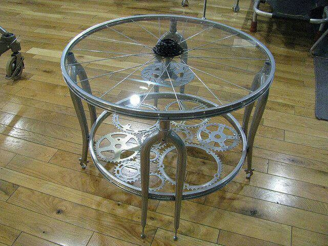 Coffee table made with recycled bycicle parts