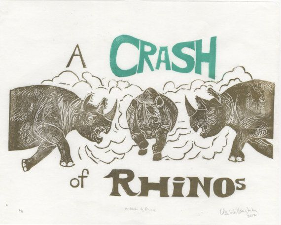 A Crash of  Rhinos Linocut by minouette on Etsy, $25.00