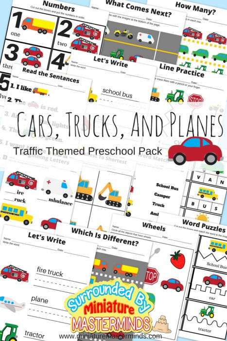 Cars, Trucks, And Planes Traffic Themed Preschool Printable Basic Concepts Book