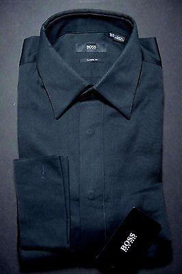 NWT Hugo Boss Mens Laurence French Cuff Classic Fit Black Dress Shirt 16 32/33