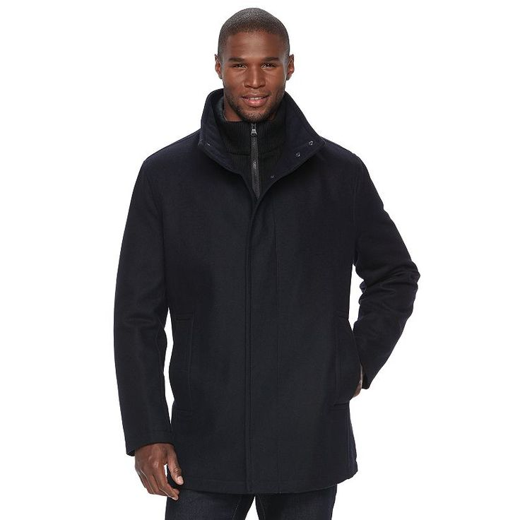 Men's Andrew Marc Wool-Blend Car Coat, Size: Medium, Dark Blue