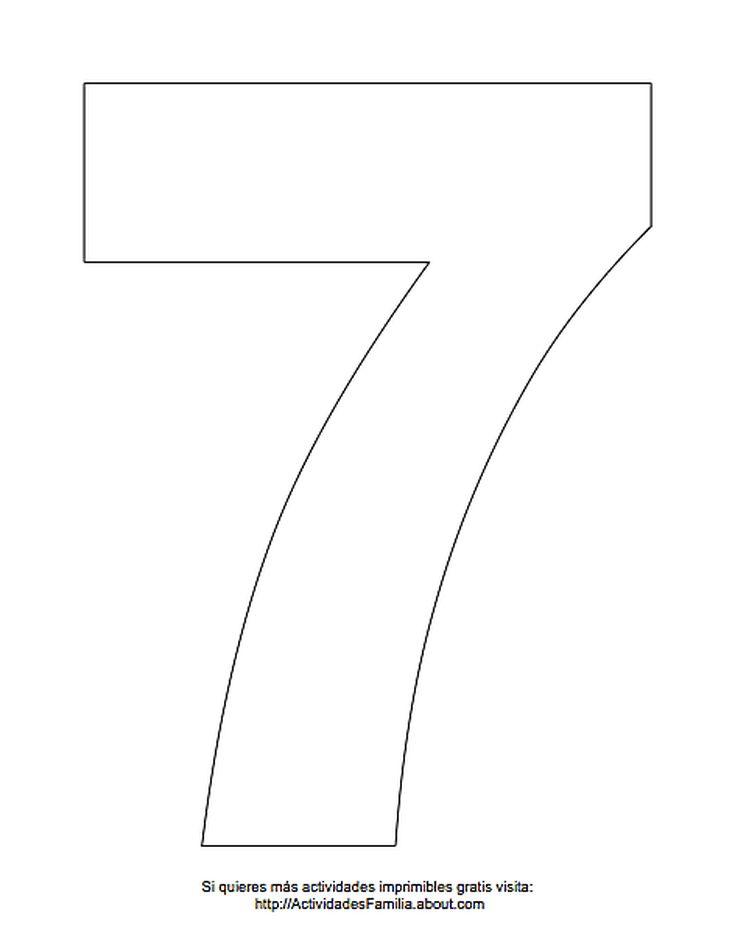 Dibujos de números para colorear: Número 7 para colorear