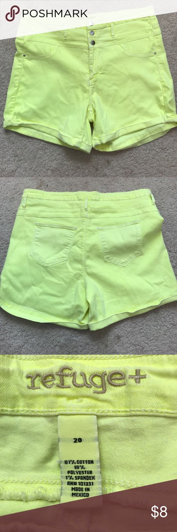 High waist shorts from Charlotte Russe Only worn once, high waist, neon yellow shorts. refuge Shorts