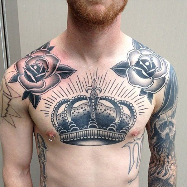 Crown Chest Tattoo for Men - 50 Meaningful Crown Tattoos  <3 !