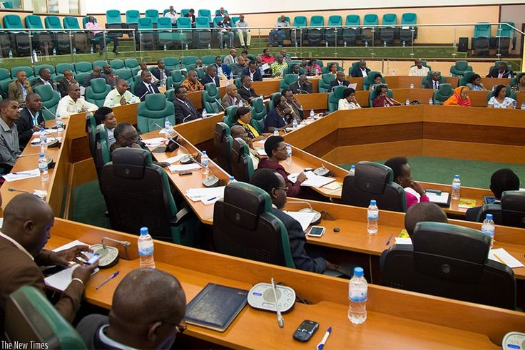 Rwanda's legislature is made up of the chamber of deputies and the senate.Deputies serve 5 years and Senators serve 8 years.12 members of the senate are elected indirectly by local councils.8 are appointed by the president.4 appointed by the POF.2 selected by institutions of higher learning.53 chamber of deputies members are elected by representation vote.24 women are elected by special interest groups.Last 3 are selected by the youth and disability organizations.(above is Rwanda's senate.)