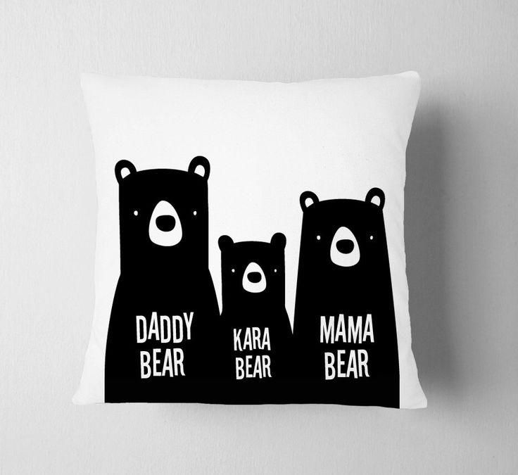 Personalized Bear Family Pillow Nursery, Boy Room Bear Woodland , Zoo Name Pillow, Black White Scandinavian Kids Pillow Decor, Boy Nursery by ZeppiPrints on Etsy https://www.etsy.com/listing/288398139/personalized-bear-family-pillow-nursery