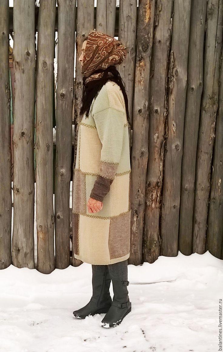 Buy Knitted warm dress Patchwork handmade, wool - knitting dress, stylish knit dress