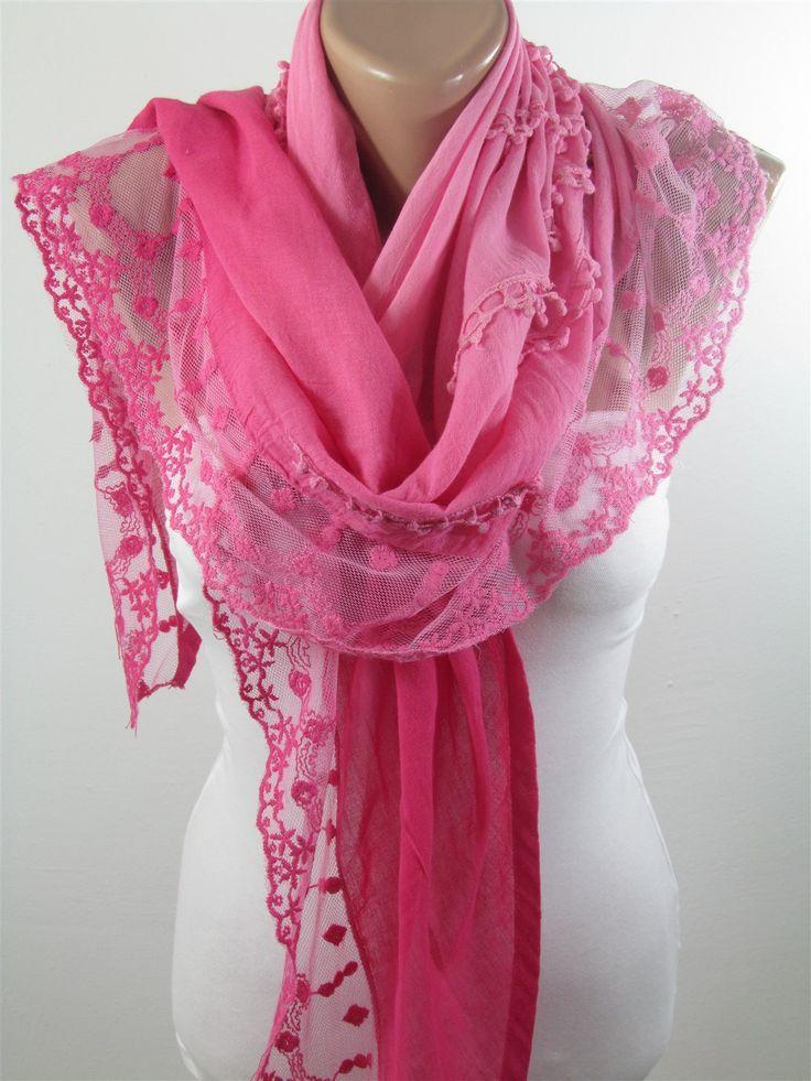ScarfCluB Lace Scarf Ombre Pink Scarf Shawl Bridesmaids Gift   www.scarfclub.net
