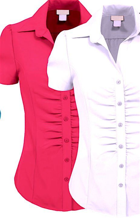 LAST+ONE+IN+STOCK!+Hot+Pink+Ruched+Button+Down+Top+Blouse
