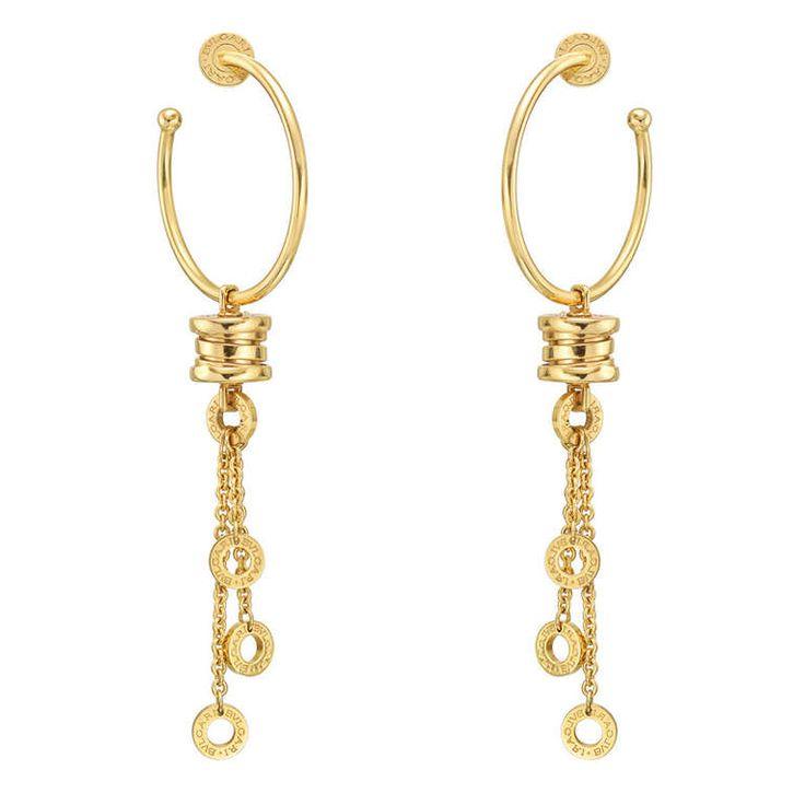 "Bulgari Gold ""B.Zero1"" Pendant Hoop Earrings | From a unique collection of vintage hoop earrings at http://www.1stdibs.com/jewelry/earrings/hoop-earrings/"