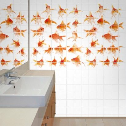Golden Fish Tile Murals