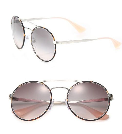 Prada 54MM Round Metal & Acetate Sunglasses Havana           $59.00