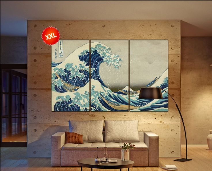 The Great Wave Off Kanagawa Print On Canvas Wall Art Katsushika Large The Great Wave Hokusai Photo Art Work Framed Art Artwork In 2021 Modern Wall Art Canvas Mural Art Etsy Wall Art