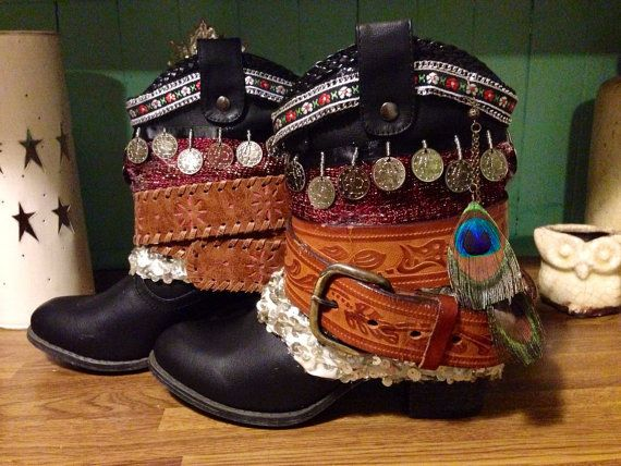 Women's Black Boho Cowboy Boots Ready to by AlwaysDreamBigCrafts