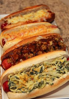 Jo and Sue: Gourmet hot dog cook off -- Chicken Cordon Bleu Dog, French Onion Soup Dog, Turkey Dinner Dog, and Spinach Artichoke Dip Dog.