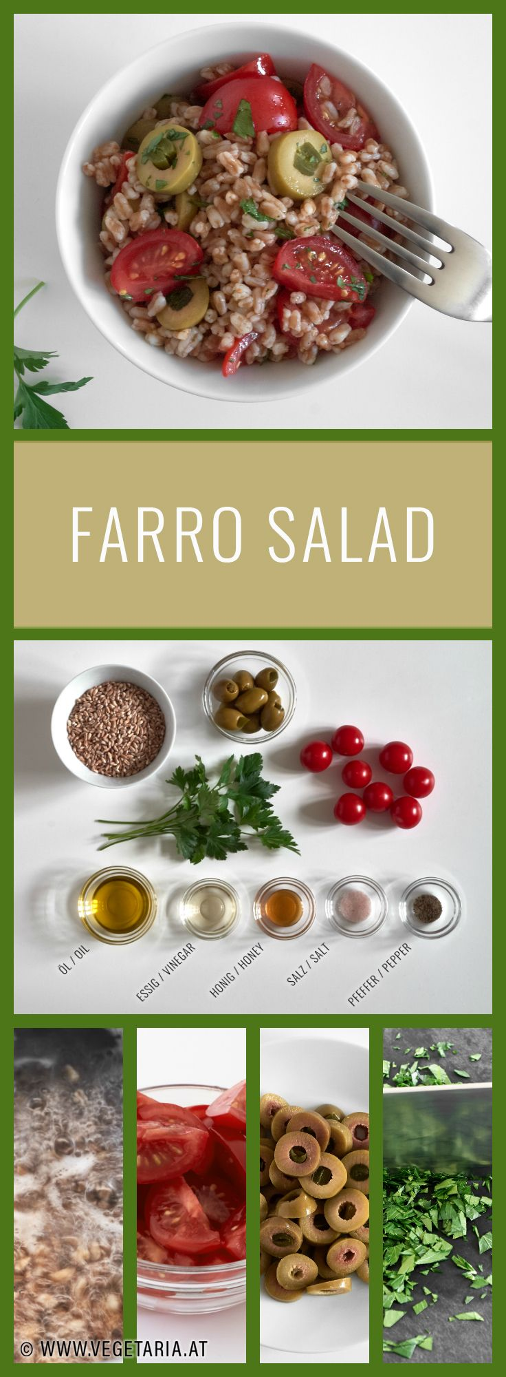 Farro salad with olives and tomatoes. Very easy to make, give it a try!