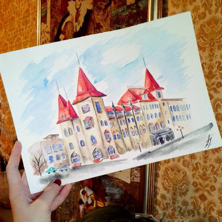 #ArtBySilmairel #MyArt #Art #Watercolor #Building #Gothic #Saratov #Саратов #Консерватория