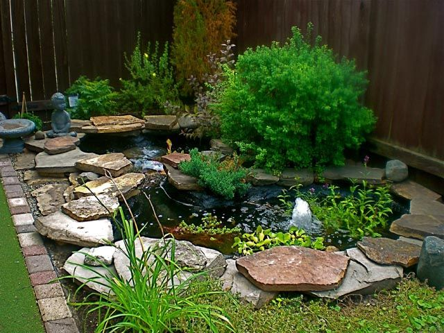 small backyard corner pond was build and waterproofed with pond ...