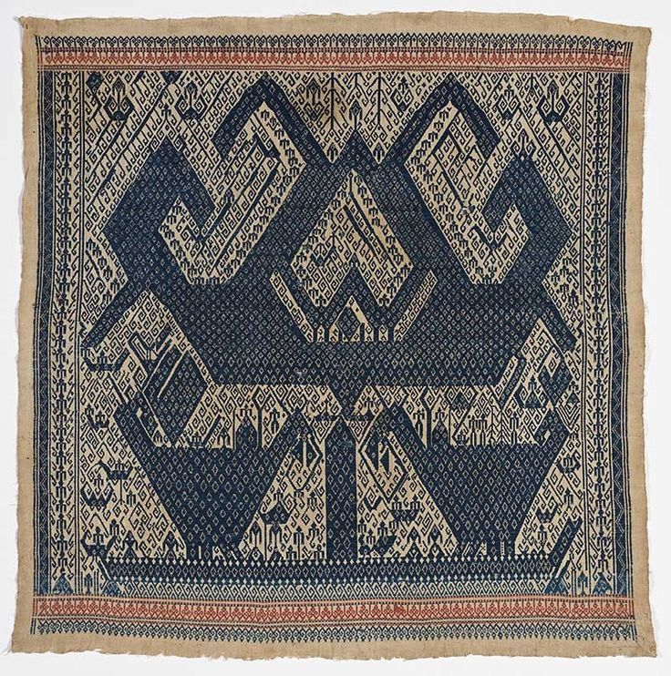 """Ceremonial cloth (""""tampan""""), 19th–20th century. Indonesia, Sumatra, Lampung. Cotton; supplementary-weft weave, 36x 36in. (91.4 x 91.4 cm). Fine Arts Museums of San Francisco; gift of Wells Fargo Bank, 1987.37.4"""