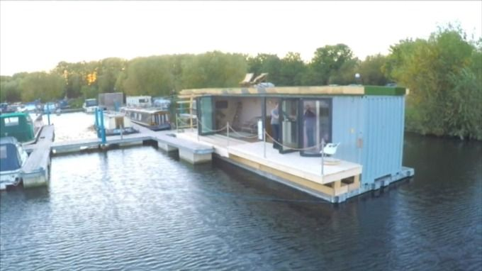 The shipping container home afloat at Bedford Marina.