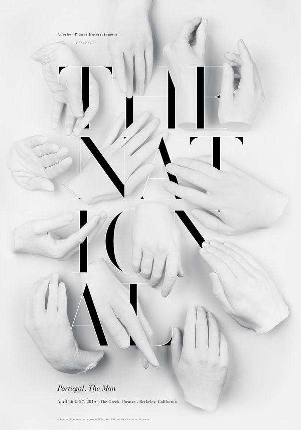 The National: Poster que combina elementos de escultura y tipografía, diseñado por Sean Freeman...