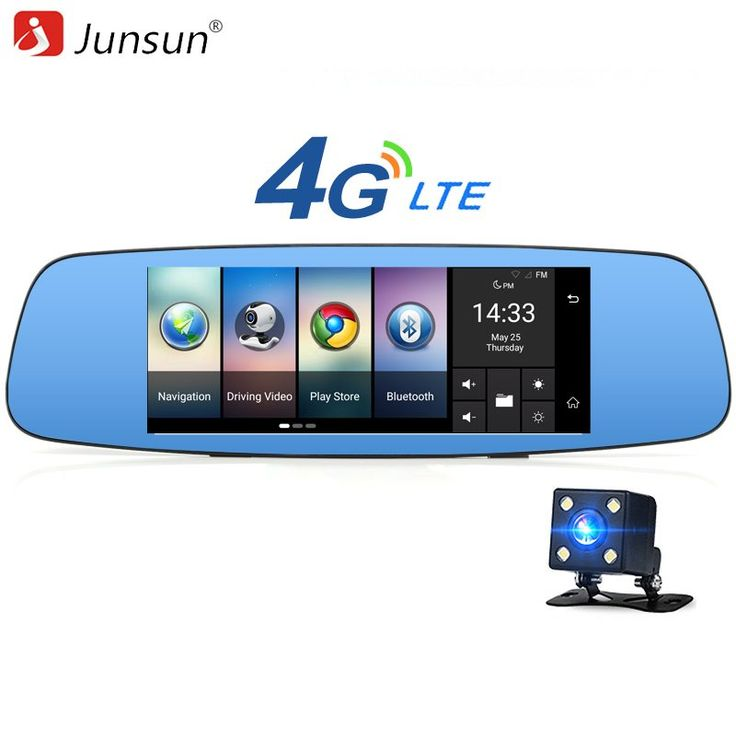 """Junsun A800 4G/3G Car DVR Mirror 7"""" Android 5.1 GPS Dash cam Video Recorder Rear view mirror with DVR and Camera Registrar 16GB //Price: $160.21 & FREE Shipping //     #navigation"""