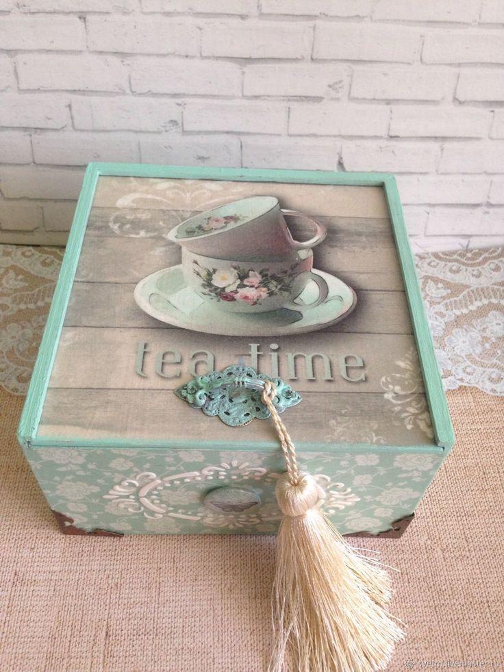 Купить Деревянная шкатулка для чая сладостей Мятная декупаж в интернет магазине на Ярмарке Мастеров