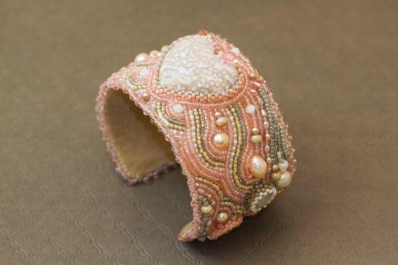 Heart bead bracelet Bead embroidered cuff Wedding by Sofija