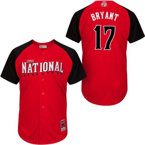 2015 All Star Chicago Cubs  Mens Jerseys National League #17 kris BRYANT Red BP Baseball Jersey 4689
