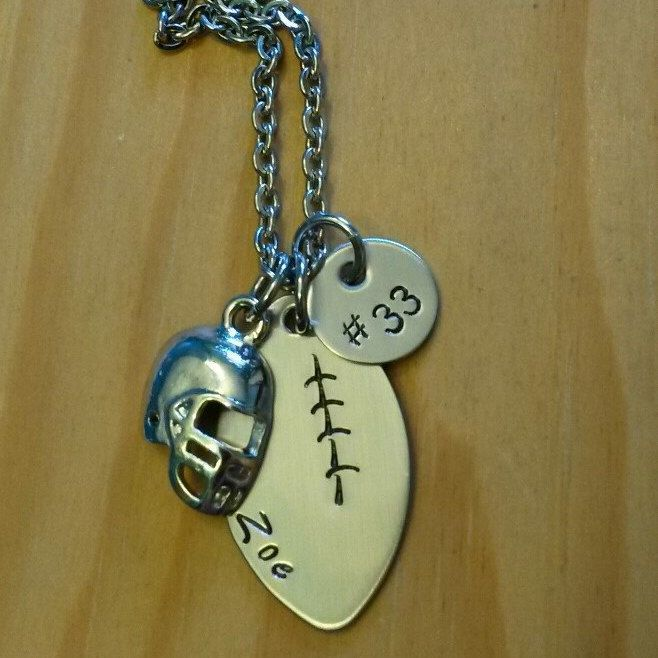 Hand Stamped Football Necklace - Personalized Jewelry - Football Mom Necklace with Name & Number by BlackWolfDesigns21 on Etsy https://www.etsy.com/listing/190065543/hand-stamped-football-necklace