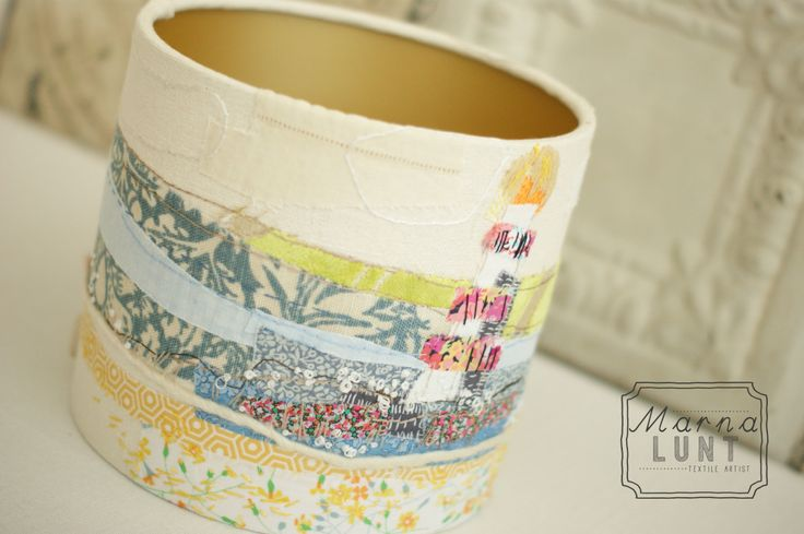 Hand embroidered lampshade by Marna Lunt lined with gold. Www.marnalunt.co.uk