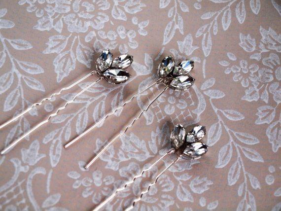 Bridal wedding hair pin Miss Maria rhinestone by gadegaarddesign