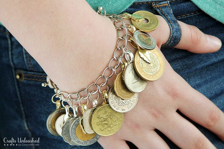 Learn how to easily create a souvenir charm bracelet using foreign coins from your favorite trips.