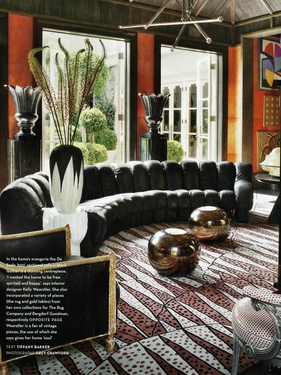 Kelly Wearstler interior. De Sede DS-600 'Non-Stop' sofa.