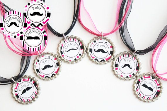 Mustache Theme Party Favors - Mustache Party Favor - Customized Necklaces - Tween Party Favors - Set of 6 - FREE Customization