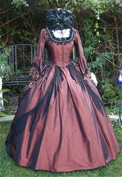 Elegant Copper Victorian Masquerade Dress