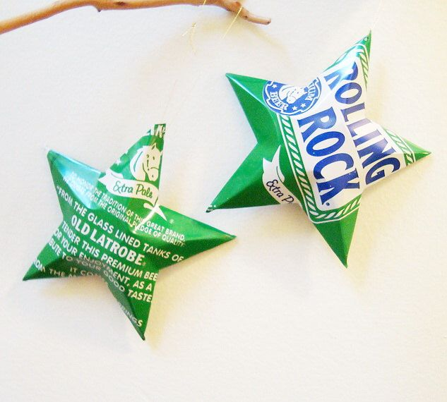 Rolling Rock Extra Pale Ale Beer Stars Christmas Ornaments Aluminum Can Upcycled by LizardSkins on Etsy https://www.etsy.com/listing/114514510/rolling-rock-extra-pale-ale-beer-stars