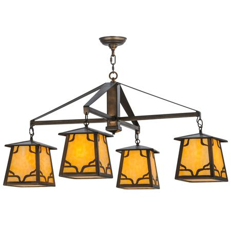 Four light craftsman chandelier with beige art glass.