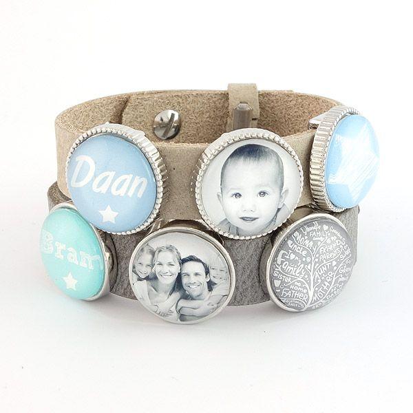 Armband met naam- en fotoschuivers | Gewoon! Sieraden
