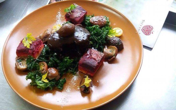 Veal/ mushrooms/smoked plum sauce