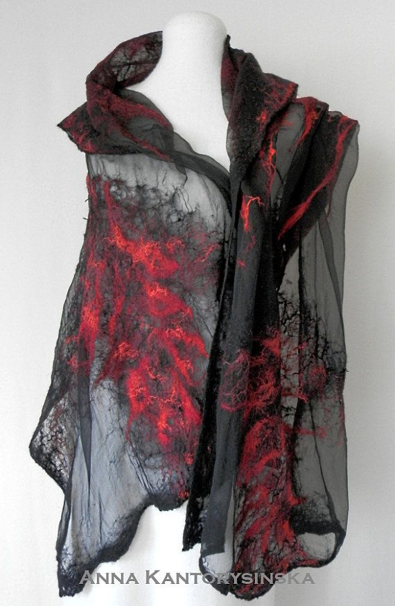 nuno felted silk scarf shawl wrap RED COMET by kantorysinska, $130.00